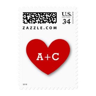 Monogram Heart Bride and Groom Wedding V02 RED Postage