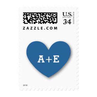 Monogram Heart Bride and Groom Wedding V03 BLUE Stamp