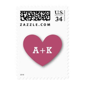 Monogram Heart Bride and Groom Wedding V05 PINK Stamps
