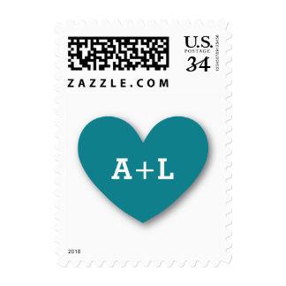 Monogram Heart Bride and Groom Wedding V06 TEAL Postage Stamp