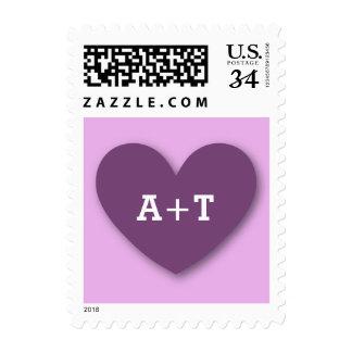 Monogram Heart Bride and Groom Wedding V07A PURPLE Postage Stamp