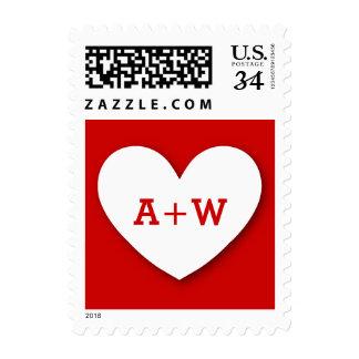 Monogram Heart Bride and Groom Wedding V10 RED Postage