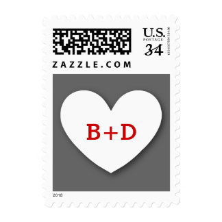 Monogram Heart Bride and Groom Wedding V11 RED Stamps