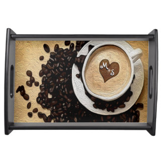 Monogram Heart Coffee Serving Tray