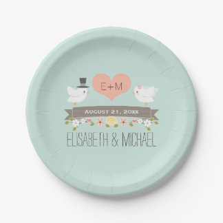 Monogram Heart Mint Green Love Bird Dove Wedding Paper Plate