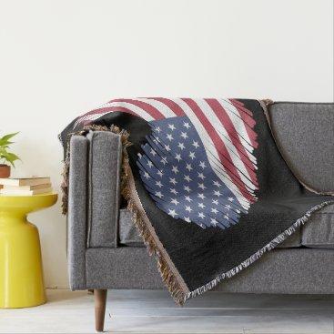 USA Themed Monogram. Heart Shaped USA American Flag. Throw