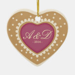 Monogram Heart Sugar Cookie Double-Sided Heart Ceramic Christmas Ornament