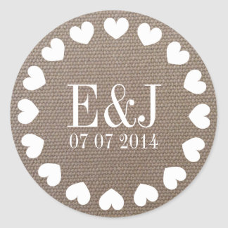 Monogram heart wedding stickers | burlap texture