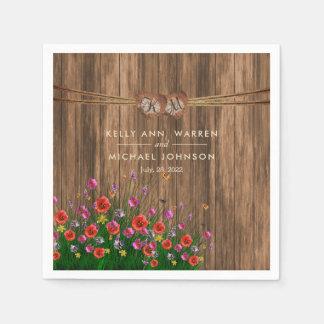 Monogram Heart with Spring Wildflowers Napkin