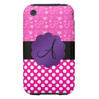 Monogram hearts and polka dots tough iPhone 3 case