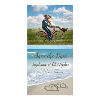 Monogram Hearts in the Sand Beach Wedding Card