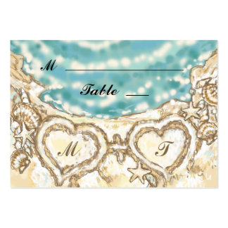 Monogram Hearts on the Beach Place Card Large Business Cards (Pack Of 100)