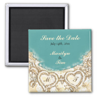 Monogram Hearts on the Beach Save the Date 2 Inch Square Magnet