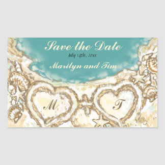 Monogram Hearts on the Beach Save the Date Rectangular Sticker