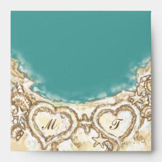 Monogram Hearts on the Beach Wedding Envelope