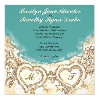 Monogram Hearts on the Beach Wedding Invitation
