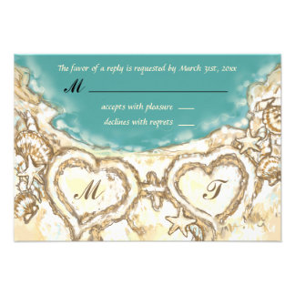 Monogram Hearts on the Beach Wedding RSVP Card Personalized Invitation