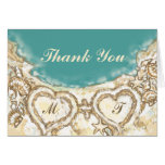Monogram Hearts on the Beach Wedding Thank You Stationery Note Card