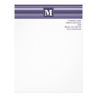 Monogram heather purple stripes letterhead