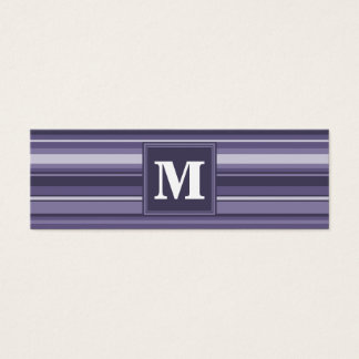 Monogram heather purple stripes mini business card