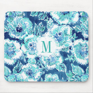 Monogram HIBISCUS BOUNTY Blue Tropical Hawaiian Mouse Pad