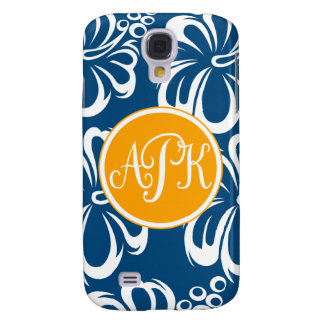 Monogram Hibiscus Flowers Samsung Galaxy S4 Cover