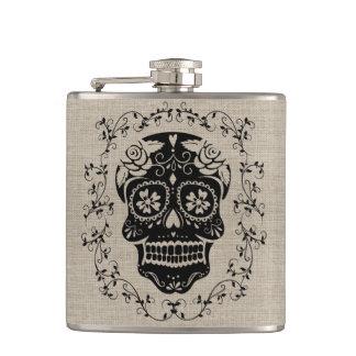 Monogram Hipster Black Sugar Skull on Burlap Flask