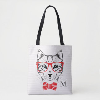 Monogram. Hipster Cat with Fancy Red Bow. Tote Bag