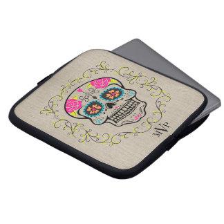 Monogram Hipster Colorful Sugar Skull Burlap Laptop Computer Sleeve