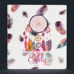 """Monogram Hipster Watercolor Dreamcatcher Feathers Binder<br><div class=""""desc"""">Monogram Hipster Watercolor Dreamcatcher Feathers. a bright, hipster and whimsical monogrammed design of this Native American culture traditional watercolor painting design of a colorful dream catcher with preppy feathers in pink, purple, orange, teal watercolors on a cool, girly and ethnic feathers pattern background. the tribal feathers are pastel with tones...</div>"""
