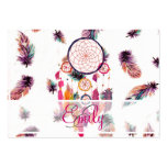 Monogram Hipster Watercolor Dreamcatcher Feathers Business Card Template
