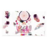 Monogram Hipster Watercolor Dreamcatcher Feathers Business Cards