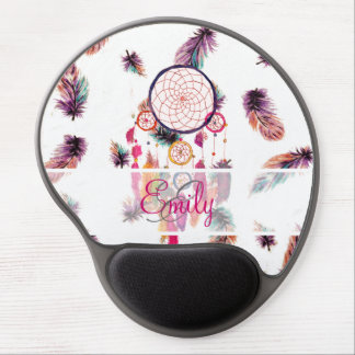 Monogram Hipster Watercolor Dreamcatcher Feathers Gel Mouse Pad