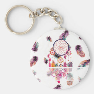 Monogram Hipster Watercolor Dreamcatcher Feathers Keychain