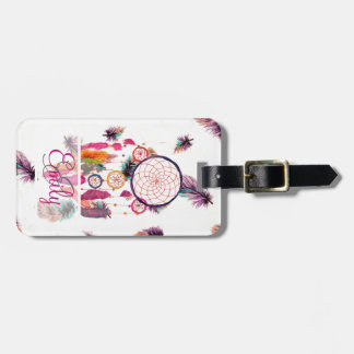 Monogram Hipster Watercolor Dreamcatcher Feathers Tag For Luggage