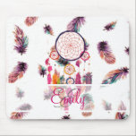 """Monogram Hipster Watercolor Dreamcatcher Feathers Mouse Pad<br><div class=""""desc"""">Monogram Hipster Watercolor Dreamcatcher Feathers. a bright, hipster and whimsical monogrammed design of this Native American culture traditional watercolor painting design of a colorful dream catcher with preppy feathers in pink, purple, orange, teal watercolors on a cool, girly and ethnic feathers pattern background. the tribal feathers are pastel with tones...</div>"""