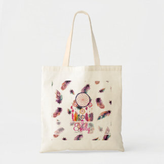 Monogram Hipster Watercolor Dreamcatcher Feathers Tote Bag