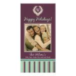 Monogram Holiday Photo Card Wreath-Stripes :: 01