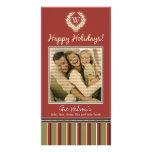 Monogram Holiday Photo Card Wreath-Stripes :: 05