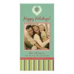 Monogram Holiday Photo Card Wreath-Stripes :: 08