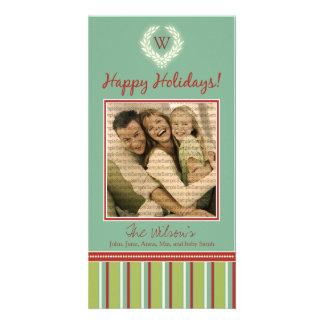 Monogram Holiday Photo Card Wreath-Stripes 08
