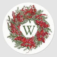 Monogram Holiday Wreath Christmas Stickers