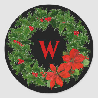 Monogram Holly Wreath Christmas on Black Classic Round Sticker