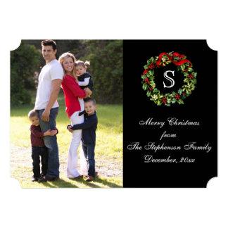 Monogram Holly Wreath Christmas Photo Card