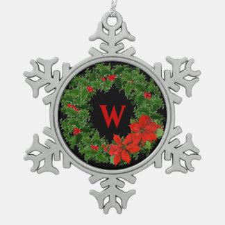 Monogram Holly Wreath Christmas Snowflake on Black Ornament