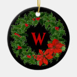 Monogram Holly Wreath on Black - 2 Sided Christmas Tree Ornaments