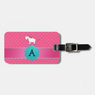 Monogram horse pink polka dots luggage tags