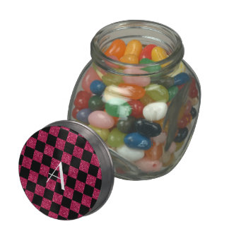 Monogram hot pink and black glitter checkered glass candy jars