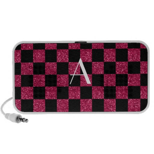 Monogram hot pink and black glitter checkered mp3 speakers