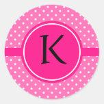 Monogram Hot Pink and White Polka Dot Pattern Sticker